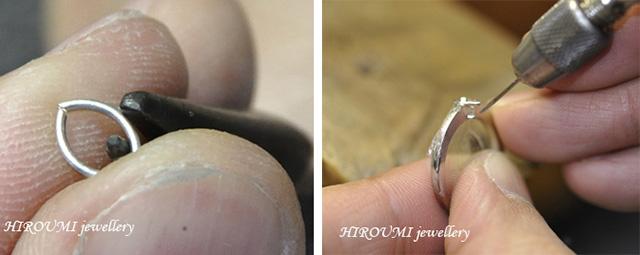 結婚指輪:ダイヤ枠制作