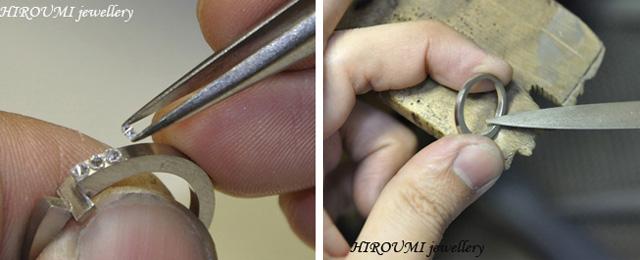 結婚指輪:ダイヤの仮置きとリング指馴染み